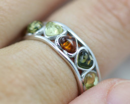 Baltic AmberRing Cluster Heart  size L direct from Poland AM1325