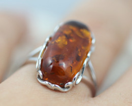 Baltic AmberRing Rectangular size N ,direct from Poland AM1331