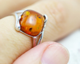 Baltic Amber Ring Sq flow size P ,direct from Poland AM1344