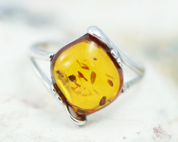 Baltic Amber Ring Sq flow size N ,direct from Poland AM1345