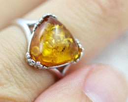 Baltic Amber Ring Trillion  size N,direct from Poland AM1351