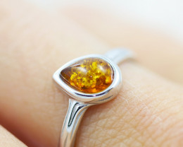 Baltic Amber Ring Pear shape  size N,direct from Poland AM1357