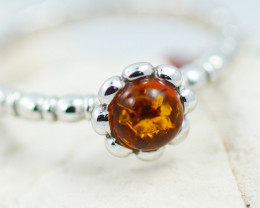 Baltic Amber Ring Red amber   size N,direct from Poland AM1374