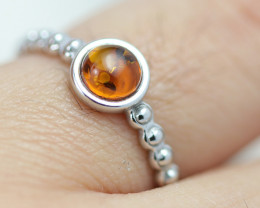 Baltic Amber Ring Red amber   size N,direct from Poland AM1387