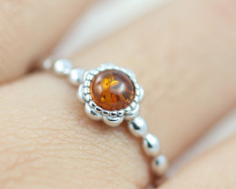 Baltic Amber Ring Red amber   size L,direct from Poland AM1391