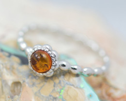 Baltic Amber Ring Red amber   size N,direct from Poland AM1393