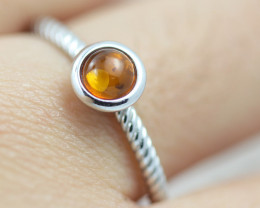Baltic Amber Ring Red amber   size N,direct from Poland AM1399