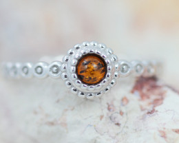 Baltic Amber Ring Red amber   size T ,direct from Poland AM1404