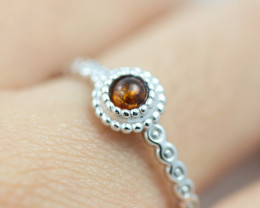 Baltic Amber Ring Red amber   size N,direct from Poland AM1405