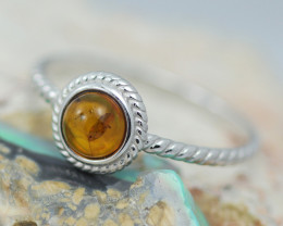 Baltic Amber Ring Red amber   size R,direct from Poland AM1410