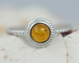 Baltic Amber Ring Red amber   size N,direct from Poland AM1411