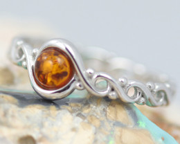 Baltic Amber Ring Red amber   size P ,direct from Poland AM11416