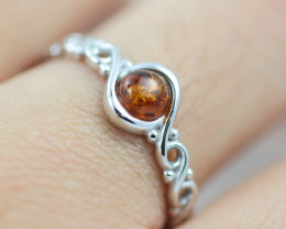 Baltic Amber Ring Red amber   size N,direct from Poland AM1417