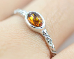 Baltic Amber Ring Red amber   size T direct from Poland AM1422