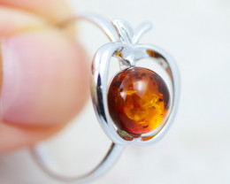 Baltic Amber Ring Apple amber   size P, direct from Poland AM1426