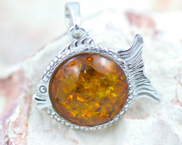 Baltic Amber Fish  Pendant ,direct from Poland AM1482