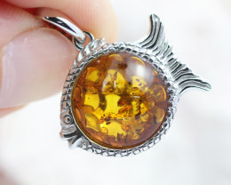 Baltic Amber Fish  Pendant ,direct from Poland AM1483