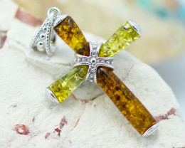 Baltic Amber Dual Tone Cross Pendant ,direct from Poland AM1495