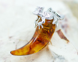 Baltic Amber Massive tooth frog Pendant ,direct from Poland AM1514