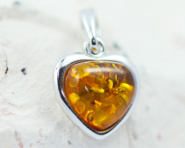 Baltic Amber Lovers Heart  Pendant ,direct from Poland AM1525