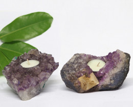 1.55 Kilo x2 Natural Amethyst Tea light CF 356