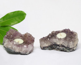 1.65 Kilo x2 Natural Amethyst Tea light CF 358