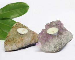 1.45 Kilo x2 Natural Amethyst Tea light CF 360