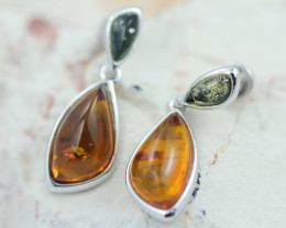 Baltic Amber Dual Colors Earrings ,direct from Poland AM 1613
