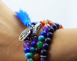 Prayer Beads ,Lapis and Gemstones Tree of life CF 479