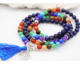 Prayer Beads ,Lapis and Gemstones Tree of life CF 480