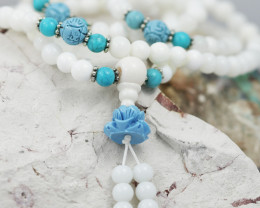 Prayer Beads White ,Agates and Gemstones CF 483