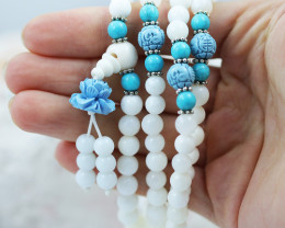 Prayer Beads White ,Agates and Gemstones CF 484