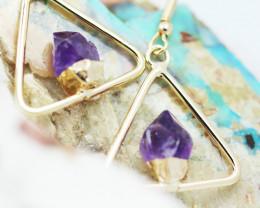 Cute Amethyst terminated earthG/P Design earrings BR 2722