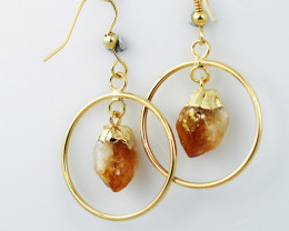 Cute Citrine terminated Round earth G/P Design earrings BR 2727