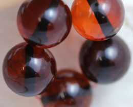 22 Cts Red Amber Beads 11m AM 1619