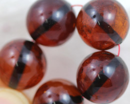 22 Cts Red Amber Beads 11m AM 1620