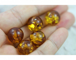 38 Cts Gold Yellow  Amber Beads 11m AM 1636