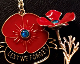 POPPY [LEST WE FORGET] REMEMBRANCE OPAL BROOCH & KEY