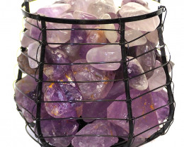 Amethyst Crystal Double Rock and Gemstones Freedom Capsule Lamp