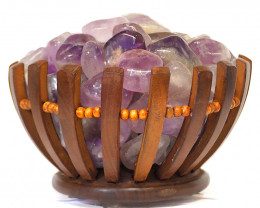 Amethyst Crystal Gemstones Freedom Basket Lamp