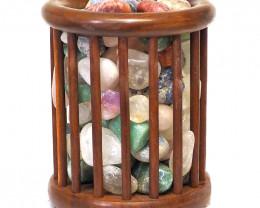 Mixed Gemstones Holistic  timber Tubular Lamp