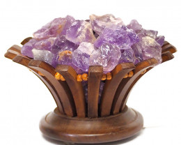 Amethyst Crystal Rock Lotus Lamp