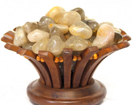 Golden Rutilated Quartz Gemstones Lotus Lamp