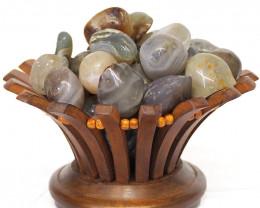 River Jasper Gemstones Lotus Lamp