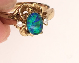 Opal-Man made-  Ring  G/P Adjustable Size  L,N  CSS 515