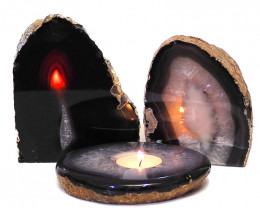 3x Agate Crystal Lamp Set S237