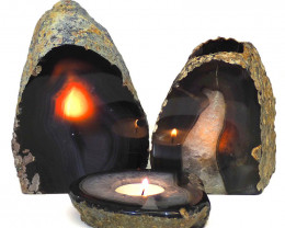 3x Agate Crystal Lamp Set S238