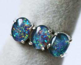 Aust - K Size Aussie Cluster Opal Triplet in silver Ring size 5.5 BU1250