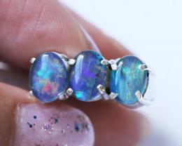 Aust - K Size Aussie Cluster Opal Mosaic Triplet in silver Ring size 5.5 BU