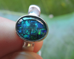 Aust - R Size Aussie Mosaic Opal Triplet in silver Ring PL 1354